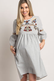 Grey Striped Floral Embroidered Maternity Dress