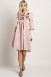 Pink Striped Floral Embroidered Dress