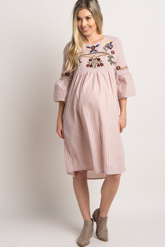 Pink Striped Floral Embroidered Maternity Dress