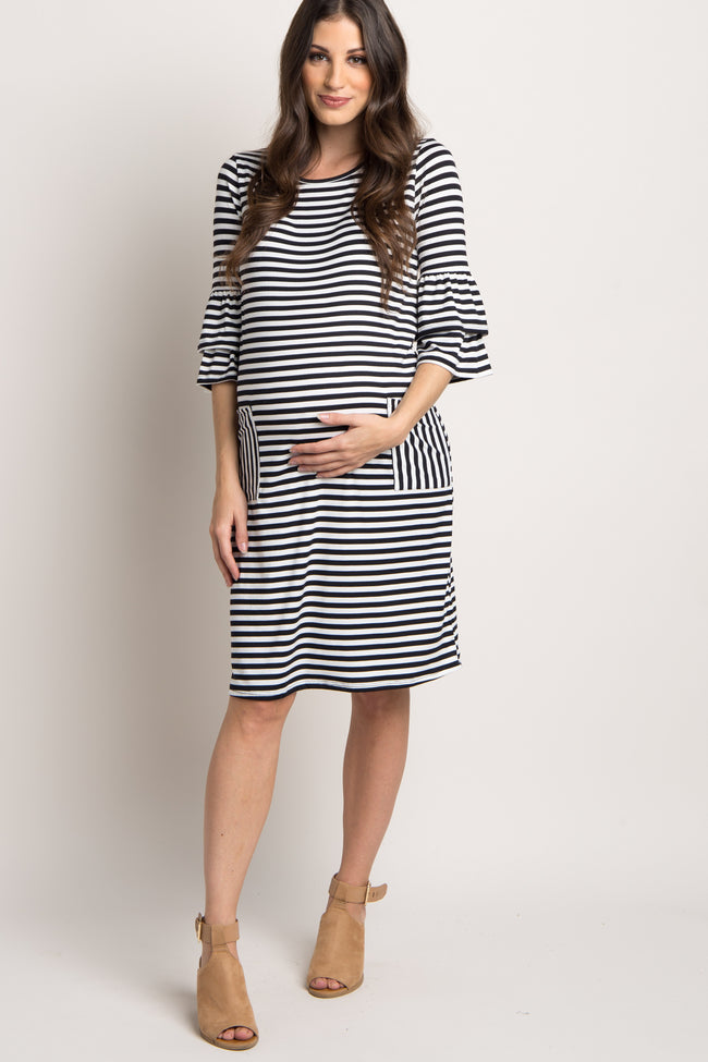 Black Striped Front Pocket Maternity Dress