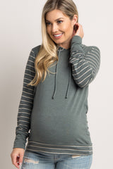 Olive Hooded Striped Colorblock Maternity Sweater