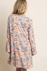 Taupe Floral Palm Chiffon Dress