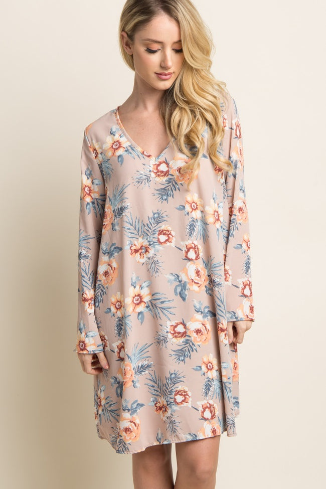 Taupe Floral Palm Chiffon Maternity Dress
