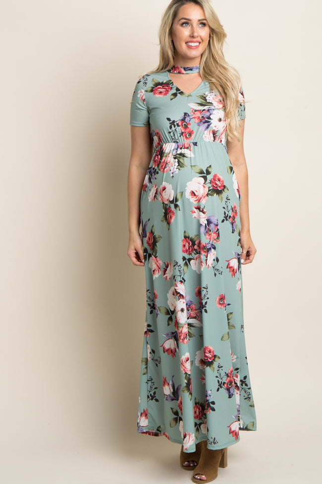 Sage Floral Cutout Front Maternity Maxi Dress