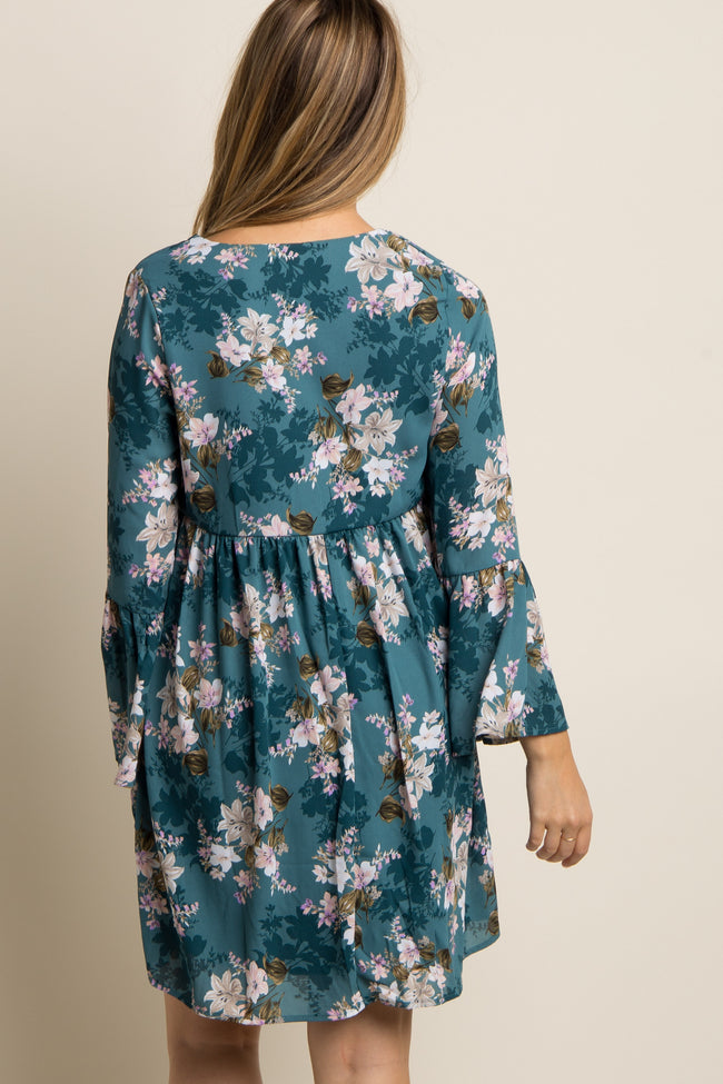 Teal Floral Babydoll Chiffon Maternity Dress