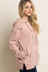 Pink Distressed Hooded Sweater
