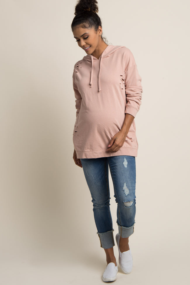 Pink Distressed Hooded Maternity Sweater