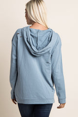 Blue Distressed Hooded Sweater