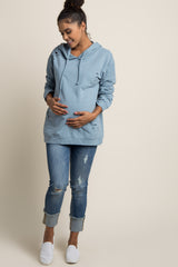 Blue Distressed Hooded Maternity Sweater