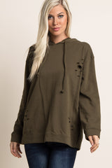 Olive Distressed Hooded Maternity Sweater