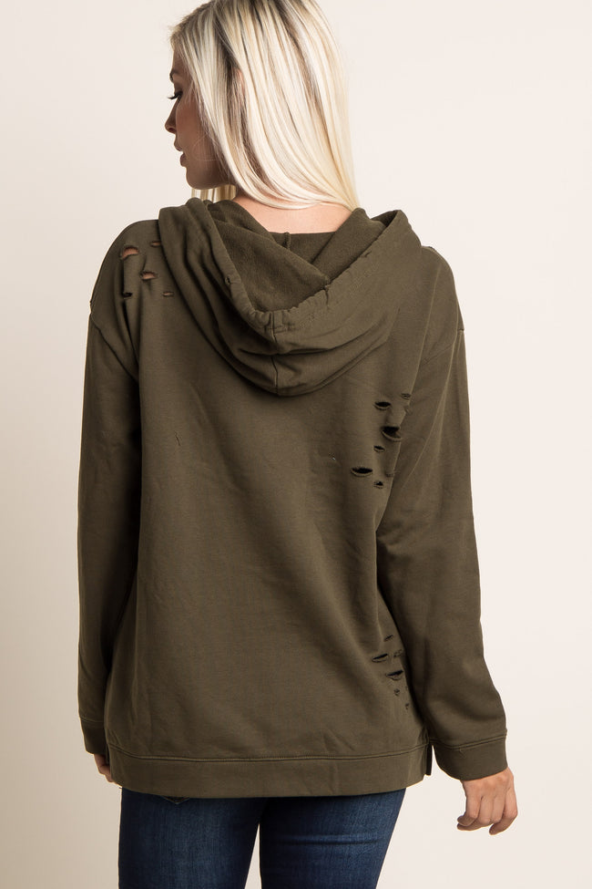 Olive Distressed Hooded Sweater