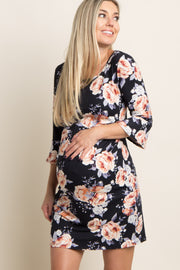 Black Rose Floral Fitted Maternity Dress