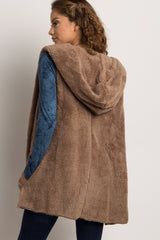 Mocha Solid Fuzzy Hooded Vest