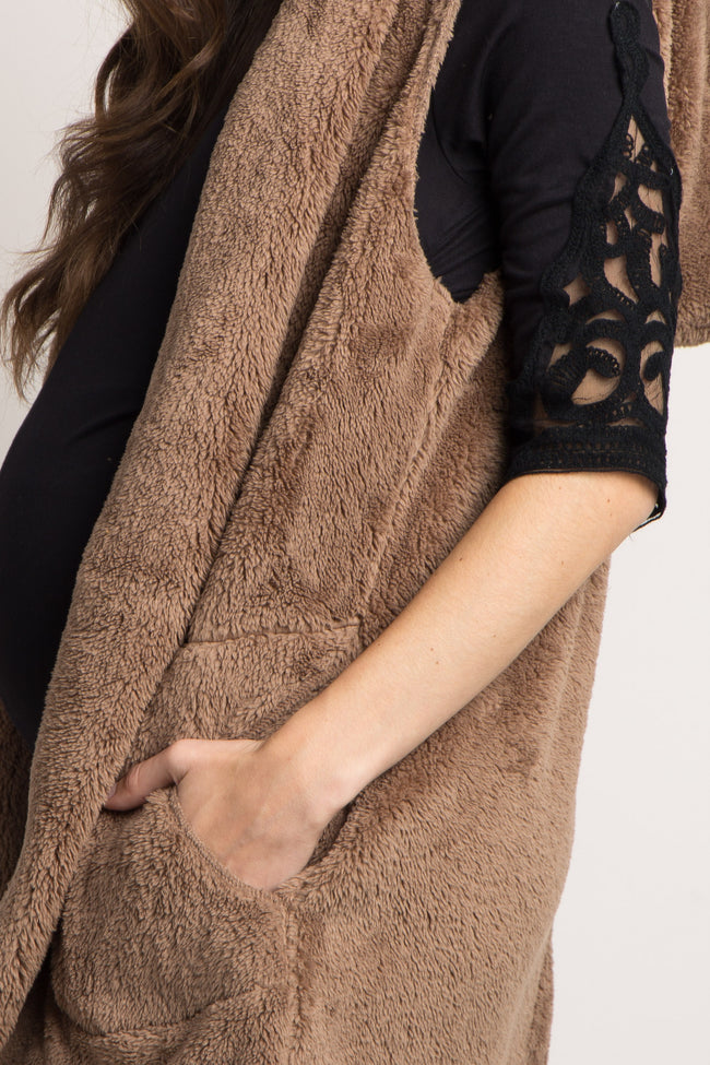 Mocha Solid Fuzzy Hooded Maternity Vest