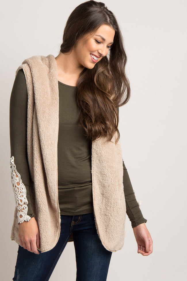 Beige Solid Fuzzy Hooded Vest