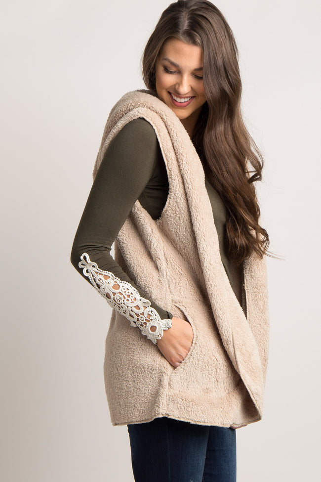 Beige Solid Fuzzy Hooded Maternity Vest