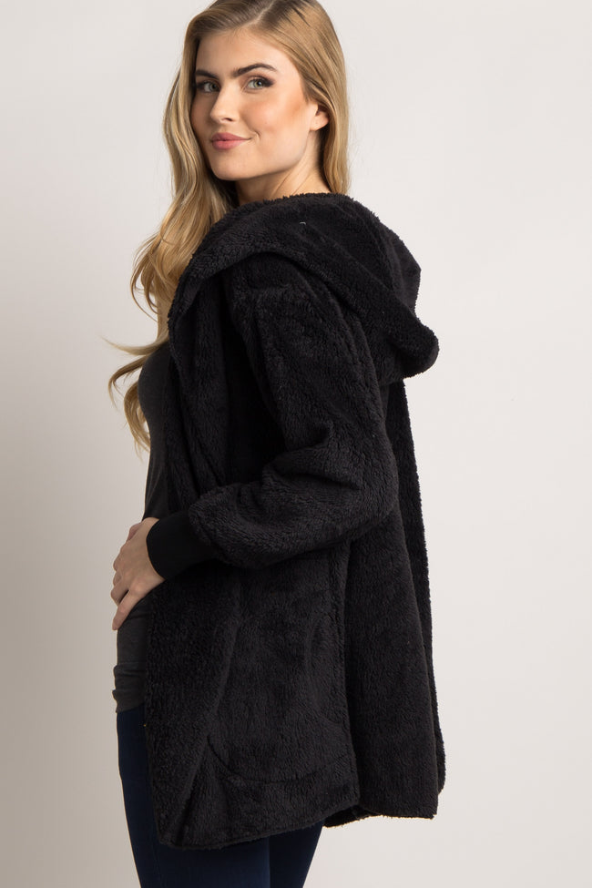 Black Fuzzy Hooded Long Sleeve Jacket
