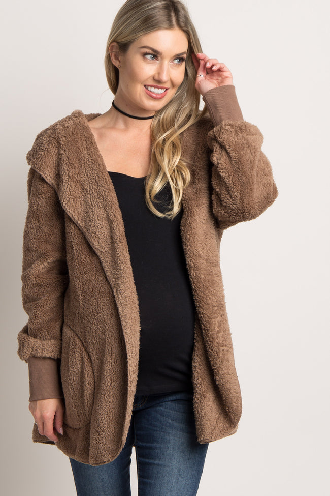 Mocha Fuzzy Hooded Long Sleeve Maternity Jacket