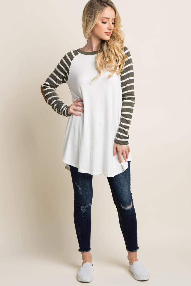 Olive Striped Suede Sleeve Colorblock Top