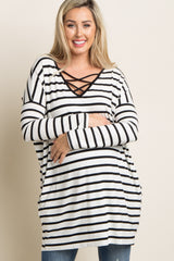 Black Striped Crisscross Maternity Tunic