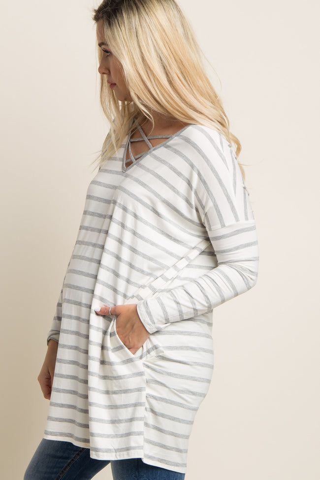Grey Striped Crisscross Maternity Tunic