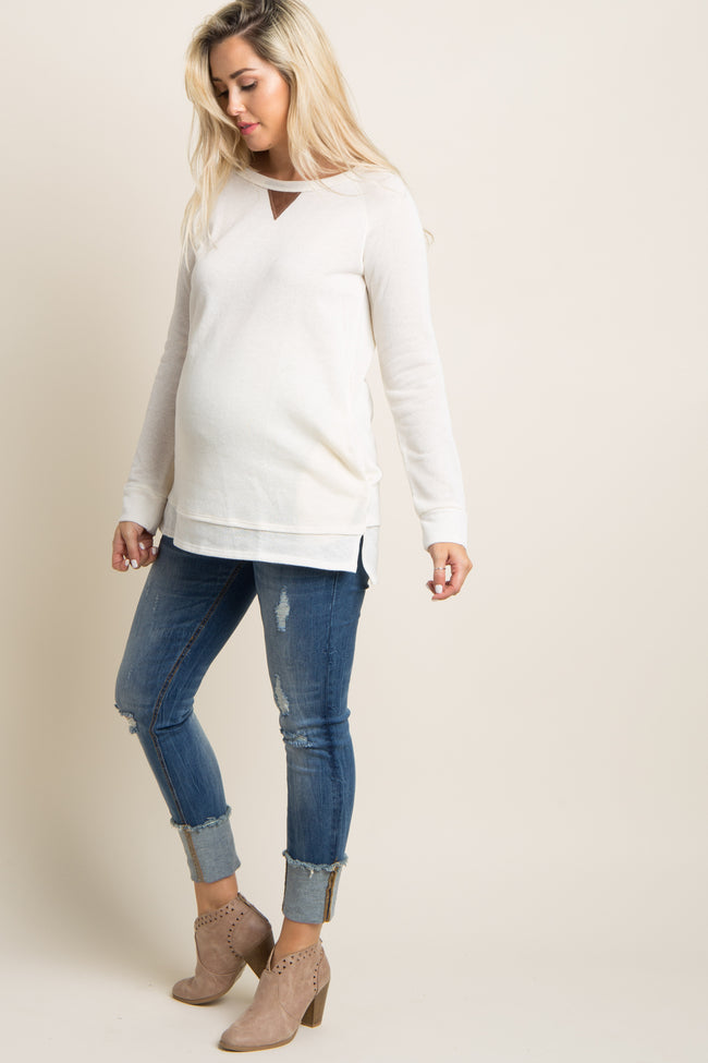 Ivory Suede Accent Maternity Sweater