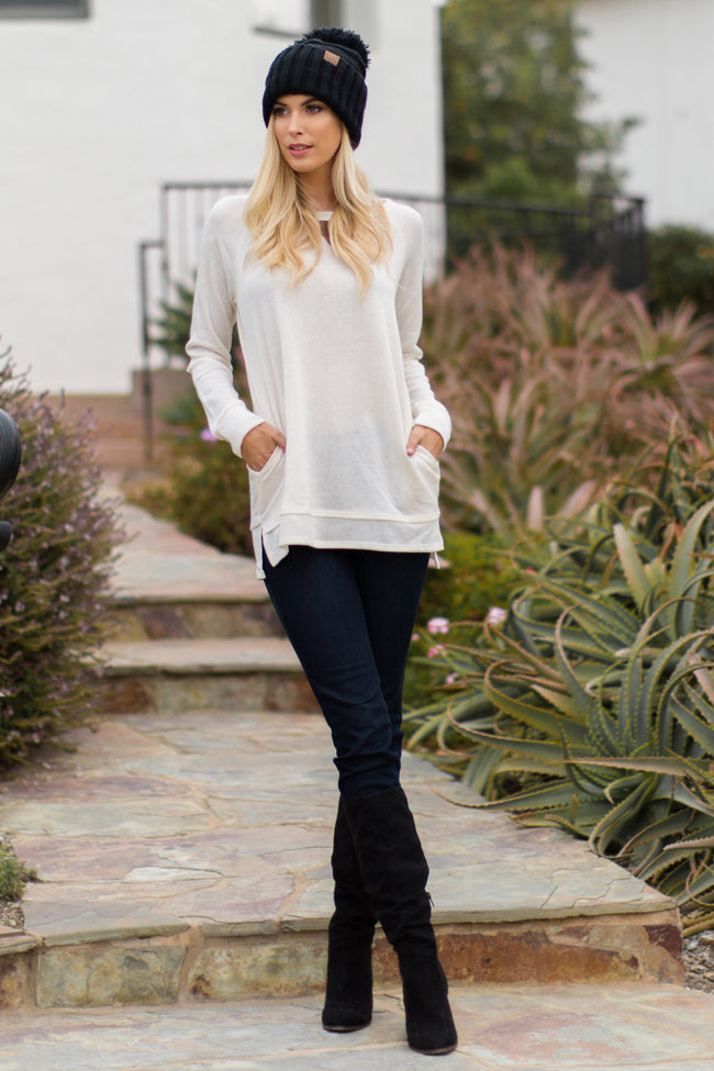 Ivory Suede Accent Sweater