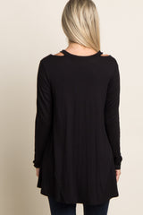 Black Cutout Shoulder Long Sleeve Maternity Top
