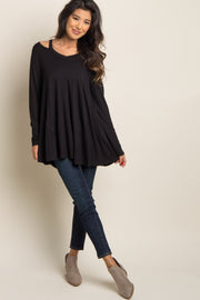 Black Cutout Shoulder Long Sleeve Top