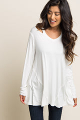 Ivory Cutout Shoulder Long Sleeve Top