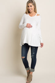 Ivory Cutout Shoulder Long Sleeve Maternity Top