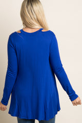 Royal Blue Solid Cutout Shoulder Maternity Top