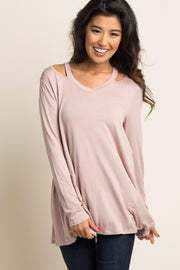 Taupe Cutout Shoulder Long Sleeve Top