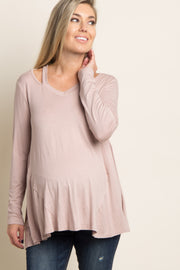 Taupe Cutout Shoulder Long Sleeve Maternity Top