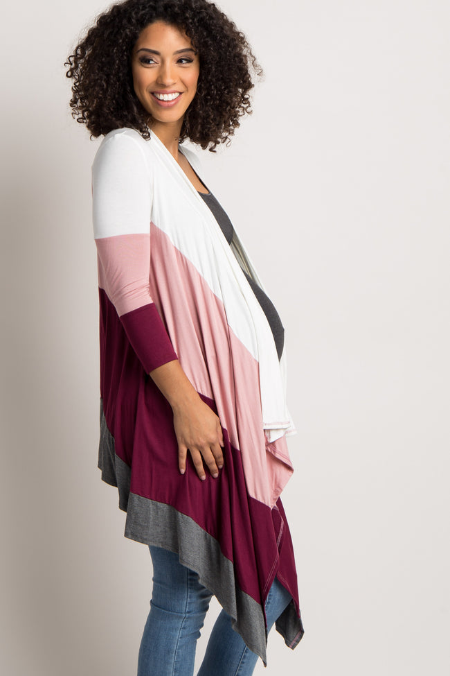 Burgundy Mauve Colorblock Maternity Cardigan