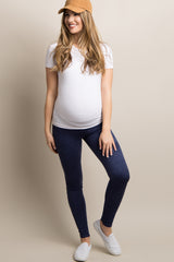 Navy Blue Solid Suede Maternity Leggings