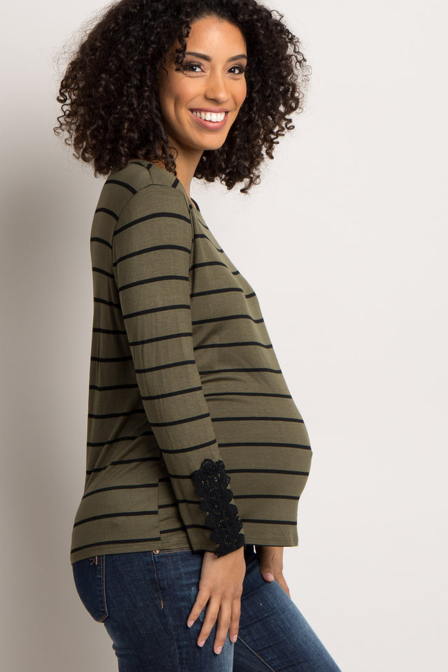Olive Striped Crochet Accent Maternity Top