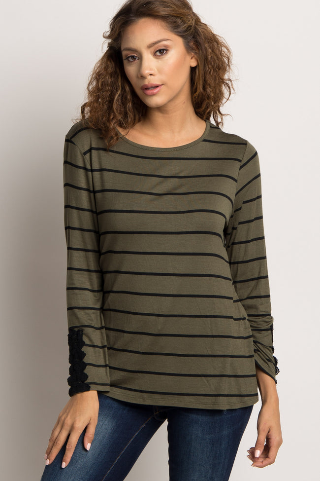 Olive Striped Crochet Accent Top