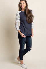 Navy Striped Colorblock Suede Elbow Maternity Top