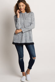 Grey Heathered Hooded Lace Trim Sweater