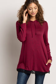 Burgundy Heathered Hooded Lace Trim Sweater