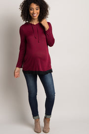 Burgundy Heathered Hooded Lace Trim Maternity Sweater
