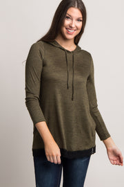 Olive Heathered Hooded Lace Trim Sweater