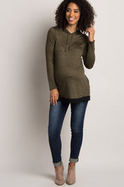 Olive Heathered Hooded Lace Trim Maternity Sweater