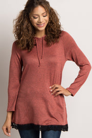 Rust Heathered Hooded Lace Trim Sweater