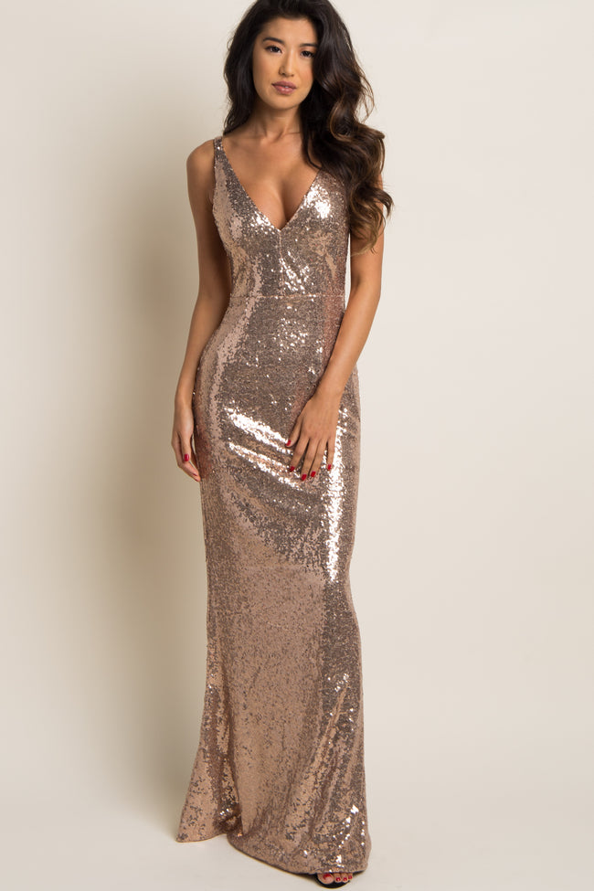 Gold Sequin Fitted Sleeveless Evening Gown