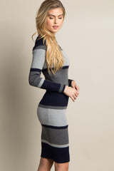 Navy Striped Ribbed Fitted Midi Dress