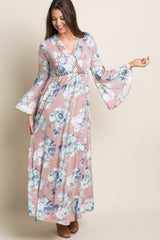 Pink Floral Bell Sleeve Maternity/Nursing Wrap Maxi Dress