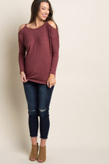Burgundy Cold Shoulder Cutout Back Top