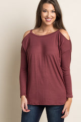 Burgundy Cold Shoulder Cutout Back Maternity Top
